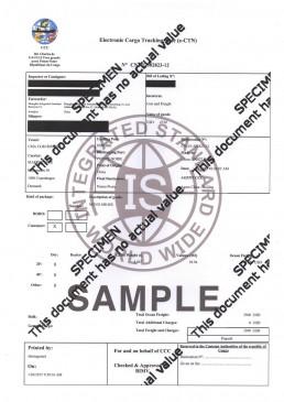 刚果布ECTN电子货物跟踪单 证书样本